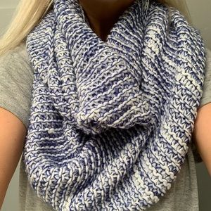 Blue and white crochet circle scarf